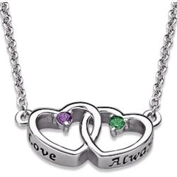 Couple's Birthstone Intertwined Hearts Necklace