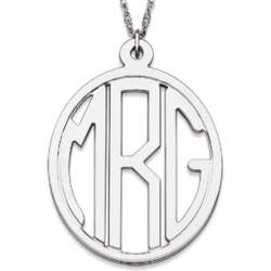 Sterling Silver Tailored Oval Monogram Necklace