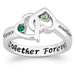Sterling Silver Couple's Intertwined Birthstone Hearts Ring