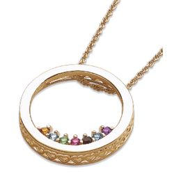 Mother's Birthstone Circle Slider Necklace