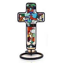 Color of Light Stained Glass Cross Candleholder