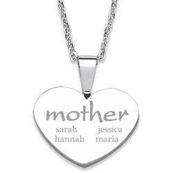 Stainless Steel Mother with Names Heart Necklace