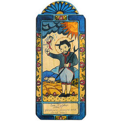 St Isidore Patron Saint of Farmers Retablo Wood Plaque