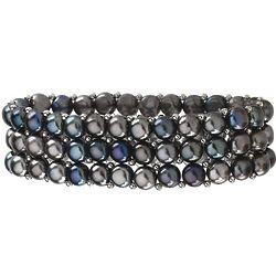 Black Freshwater Pearl Stretch Bracelet