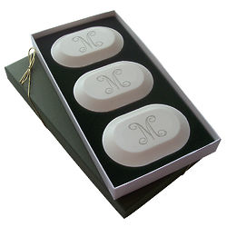 Carved Soap Trio with Personalized Single Initial