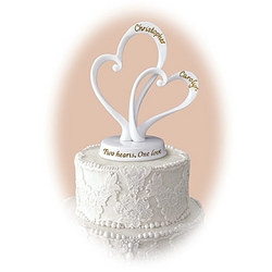 Personalized 'Two Hearts' Cake Topper