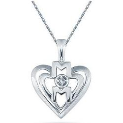 Diamond and Heart MOM Pendant in 14K White Gold