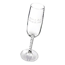 Engraved Champagne Glass With Braided Stem