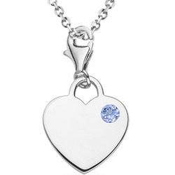 Tanzanite Solitaire Multi-Purpose Heart Charm Pendant in Silver