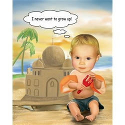 Baby Sand Castle Caricature from Photos