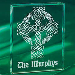 Celtic Cross Glass Block
