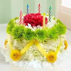 Green and Yellow Birthday Flower Cake