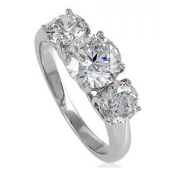 Sterling Silver 3 Round Stone Cubic Zirconia Ring