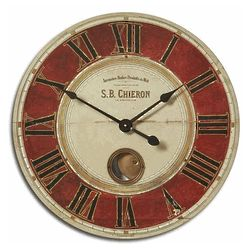 Distressed Hidden Pendulum Wall Clock