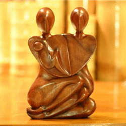 Family Peace Wood Statuette