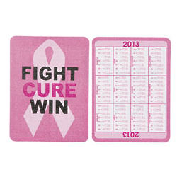 2013 Pink Ribbon Wallet Card Calendar