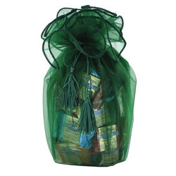 Chocolate Squares in Green Organza Bag