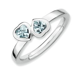 Sterling Silver Polished Aquamarine Double Heart Stackable Ring