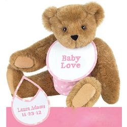 Pink Baby Shower Teddy Bear and Bib