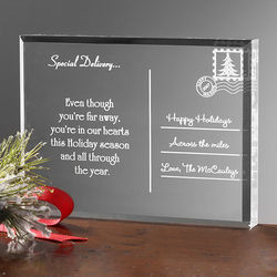 Personalized Across the Miles Holiday Acrylic Postcard