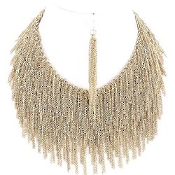 Chain Fringe Necklace and Earrings Set