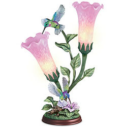 Torchiere Lamp with Hummingbird Sculptures and Glass Art