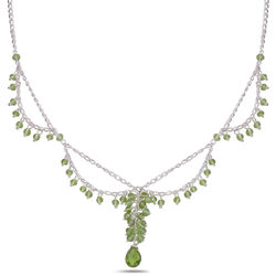 Peridot Beads with Briolette Pendant Necklace in Sterling Silver