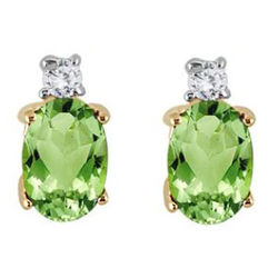 Oval Peridot Drop and Diamond Earrings