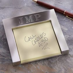 Personalized Silver Post-It Holder with Monogram