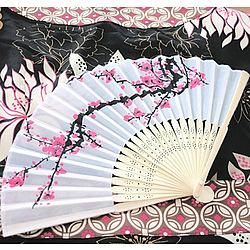 Cherry Blossom Silk Fan Wedding Favor