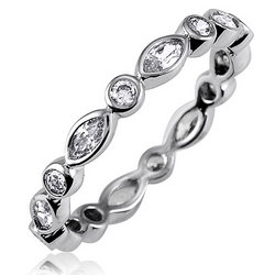 Sterling Silver Round Marquise CZ Eternity Band Ring