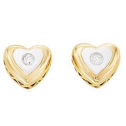 Diamond 14K Two Tone Heart Stud Earrings
