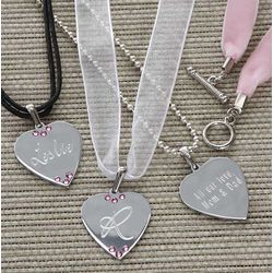 5 Piece Swarovski Crystal Heart Necklace Set