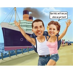 Cruising Out of Town Caricature from Photos