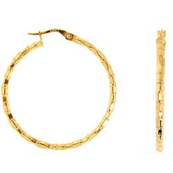 Designer Hoop Earrings in 14K Yellow Gold