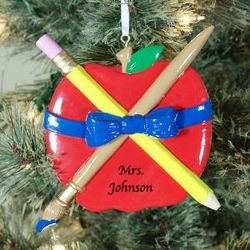 Personalized Teacher Apple Ornament