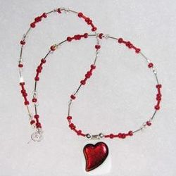 Fused Heart Pendant with Red, Clear and Silver Beaded Necklace