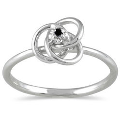 Black Diamond Swirl Promise Ring in 10K White Gold