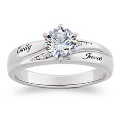 Sterling Silver Brilliant CZ and Diamond Accent Name Wedding Ring