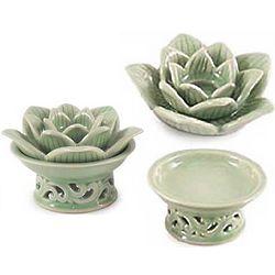 Blooming Lotus Celadon Ceramic Candleholders