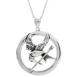 Hunger Games Inspired Sterling Silver Mockingjay Pendant Necklace