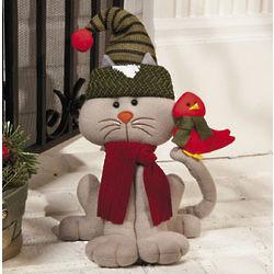 Plush Cat with Cardinal Decorative Stuffed Animal