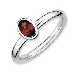 Sterling Silver Polished Oval Bezel Set Garnet Ring