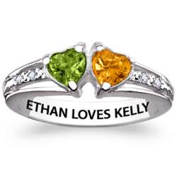 Sterling Silver Couple's Twin Hearts Birthstone Ring with Diamond
