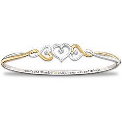 Personalized Two Hearts Become One Diamond Bracelet