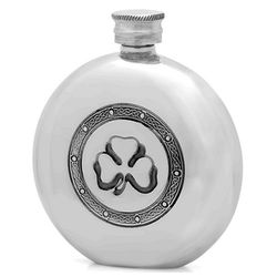 Shamrock Round Pewter Flask