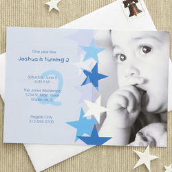 Blue Star Boy's Personalized Birthday Invitations