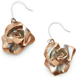 Two-Tone Rose Gold Rose Earrings