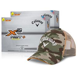 Callaway X2 Hot+ Yellow Golf Balls with Camo Hat