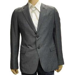 Armani Collezioni Grey Polyester Suit Coat